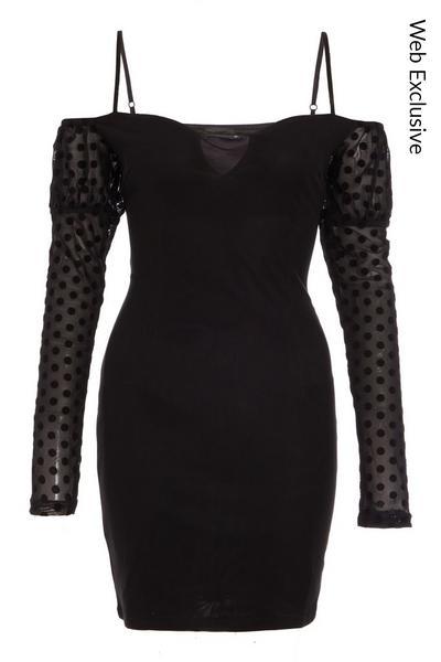 Black Polka Dot Bardot Mini Dress